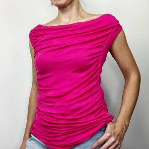 Yvos Small Pink Drape Front Boat Neck Ruched Shirt